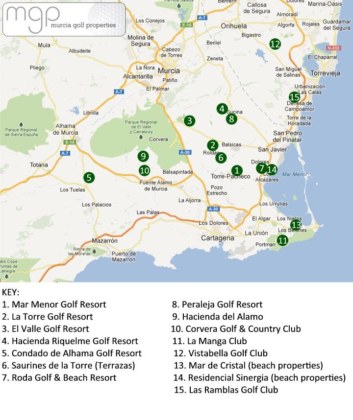 Murcia Map Polaris World Resorts Murcia Map Murcia Golf Properties - Portugal map resorts
